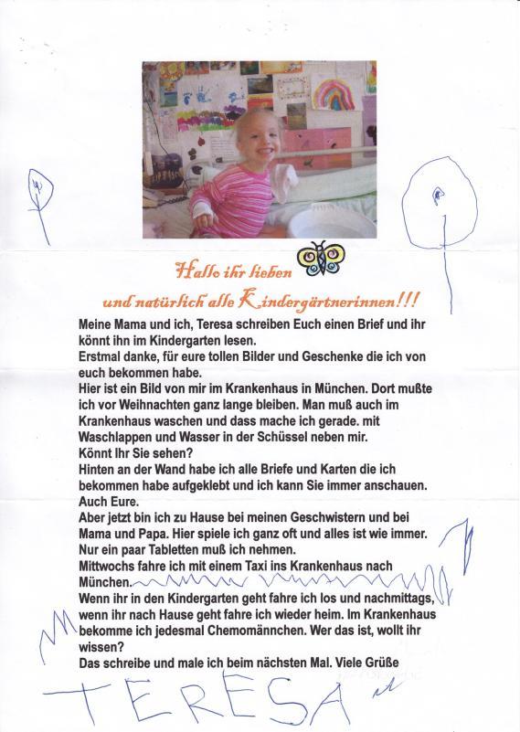 Briefe An Kinder Zu Weihnachten : Teresa krebs bei kindern